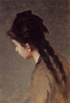 Eva Gonzalez. Portrait of Jeanne Gonzales in Profile