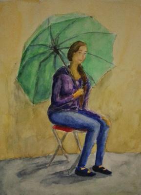 Zina Vladimirovna Parisva. Girl with umbrella