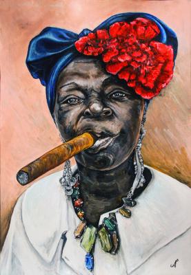 Anastasia Andreevna Ashunina. Cuban lady with a cigar