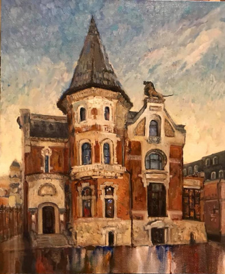The corners of old Moscow. Ostozhenka. 50x60, oil on canvas