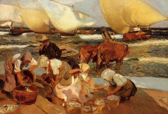 Joaquin Sorolla. The beach in Valencia or the midday sun