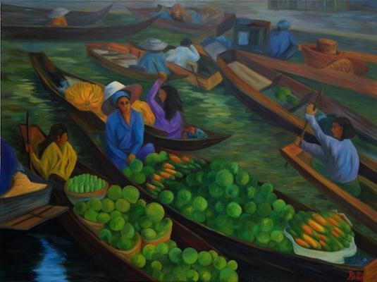 Larissa Lukaneva. Floating market