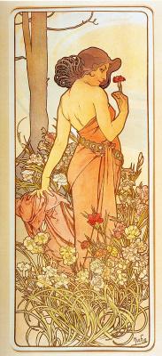 Alphonse Mucha. Flowers: Carnation