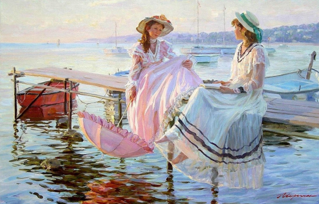Александр Николаевич Аверин. Две девушки на пирсе в Нормандии, слева дочь художника.