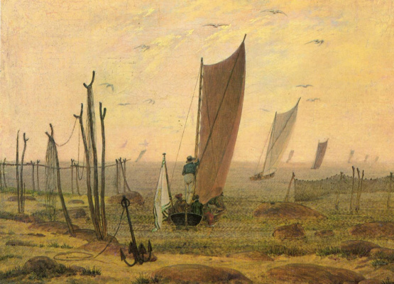 Caspar David Friedrich. Ships sail away in the morning.