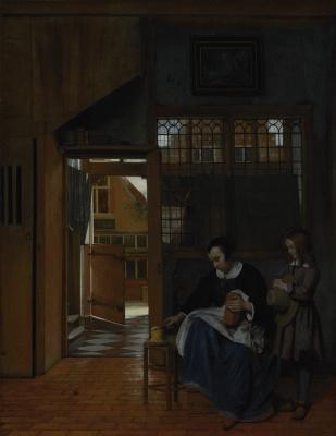 Pieter de Hooch. Woman preparing bread and butter for a boy