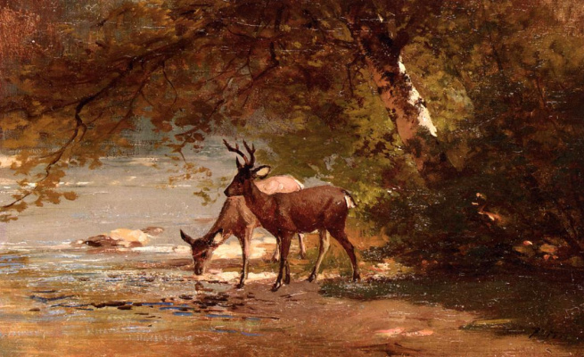 Thomas Hill. Two deer