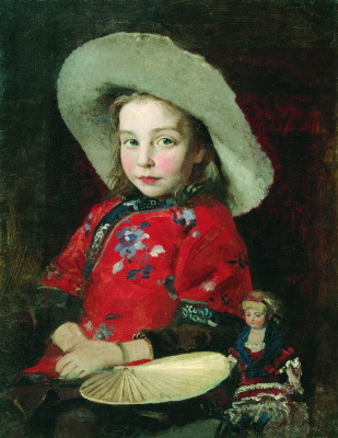 Andrei Petrovich Ryabushkin. Girl with a doll. First half of the 1890s