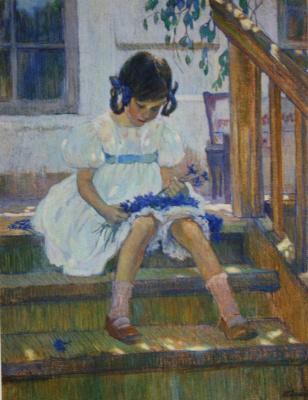 Ольга Людвиговна Делла-Вос-Кардовская. «Девочка с васильками» 1908