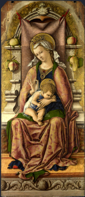 Carlo Crivelli. Madonna on the throne. The Central altar of San Domenico at Ascoli, polyptych, the Central image