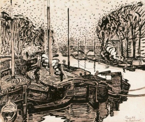 Max Pehshtein. Barges on the Seine