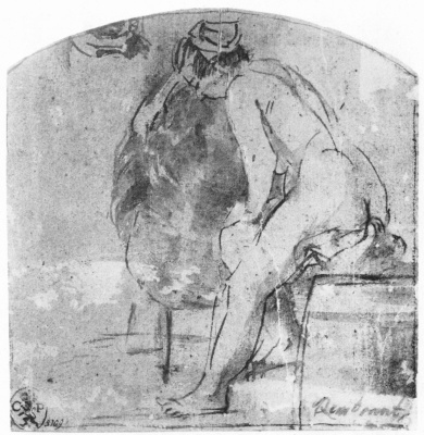 Rembrandt Harmenszoon van Rijn. Nude model in profile