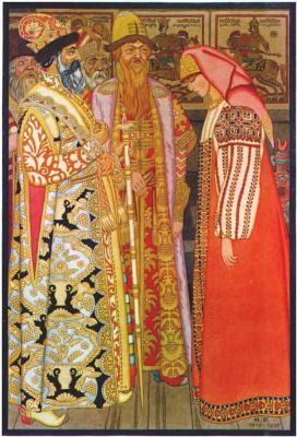 Иван Яковлевич Билибин. Лучник с женой перед царем и его свитой