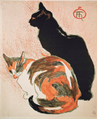Theophile-Alexander Steinlen. Two cats. Poster for art exhibition