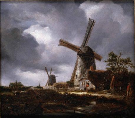 John Constable. Landscape with windmills near Haarlem (by Jacob van Reisdal)