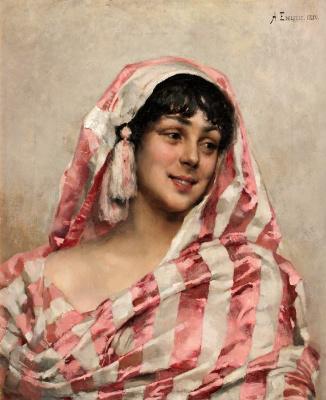 Альберт Густав Аристид Эдельфельт. Смеющаяся модель с полотном.  1880