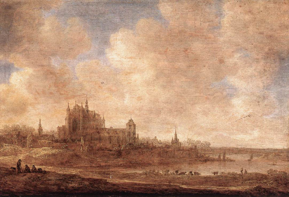 Jan van Goyen. View of the river and Latterly of the Church on the hill