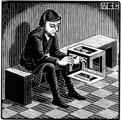 Мауриц Корнелис Эшер. Мужчина с кубом