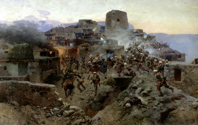Franz Alekseevich Roubaud. The storming of aul Gimry