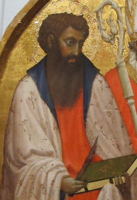Apostle Bartholomew with a knife and the Bible. Triptych San Jovenale