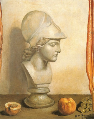 Джорджо де Кирико. Голова Минервы с персиком и виноградной гроздью