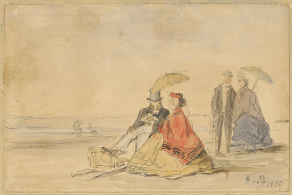 Eugene Boudin. A couple seated and a couple who walks on the beach