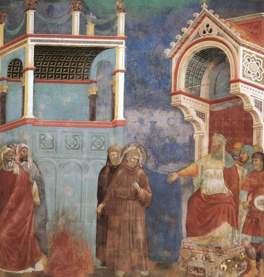 Giotto di Bondone. St. Francis before the Sultan. Trial by fire. The Legend of St. Francis