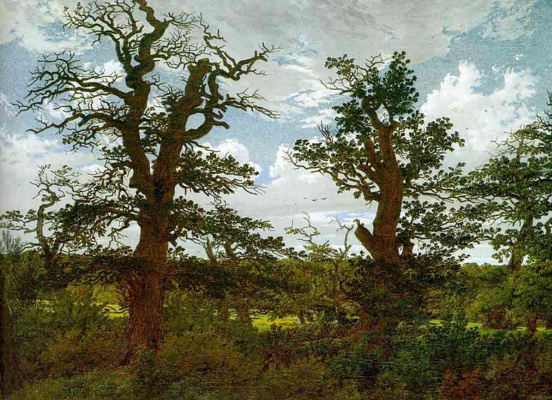 Caspar David Friedrich. Landscape with Oaks and the Hunter