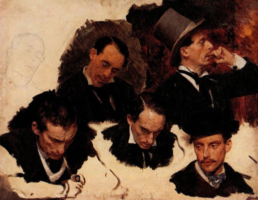 "Ilya Efimovich Repin. A male head. Sketches for the painting ""Parisian cafe"""