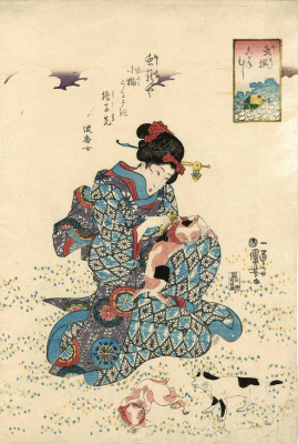 "Utagawa Kuniyoshi. The series ""Selected insects"". The Golden beetle. Woman in a meadow of cats"