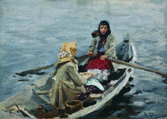 Алексей Степанович Степанович (1858-1923). В лодке. 1900-1910