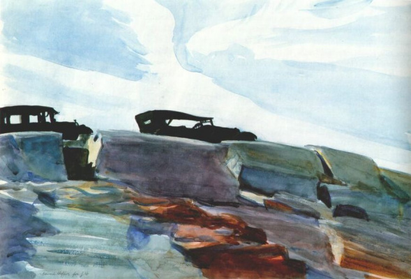 Edward Hopper. Cars and stones