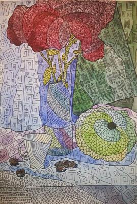 Натюрморт с тыквой и цветами