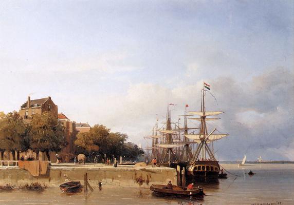 Jan Hendrik Weissenbrook. Ships on the waterfront