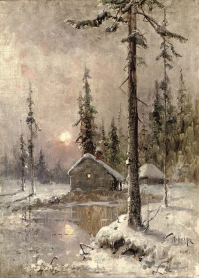 Julius Klever. Winter landscape with a snow-covered house