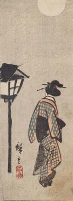 Утагава Хиросигэ. Девушка у фонаря в лунную ночь