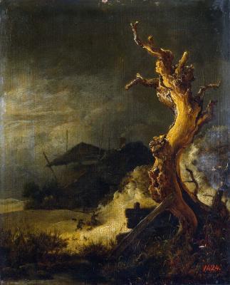 Jakob van Isaacs Ruisdael. Winter landscape with a dry tree
