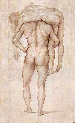 Лука Синьорелли. Нагой мужчина, несущий тело