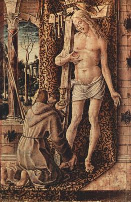 Карло Кривелли. Святой Франциск Ассизский собирает кровь, каплющую из ран Христа