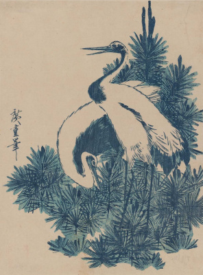 Utagawa Hiroshige. The young cranes in the pine trees