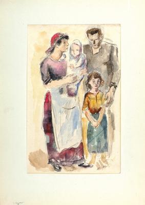 Константин Иванович Рудаков. Семья рабочего. Из серии «Запад». 1932   графитный карандаш