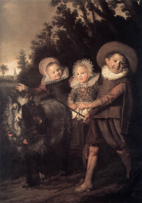 Frans Hals. Three children in a wagon pulled by a goat