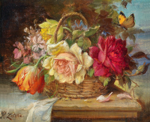 Hans Zack. Basket with flowers and butterfly