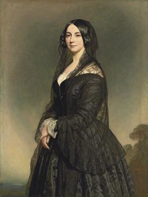Franz Xaver Winterhalter. Portrait of a lady in a black dress