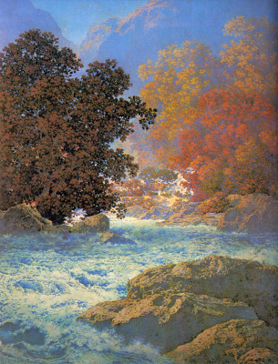 Maxfield Parrish. Rapid flow in the morning fog