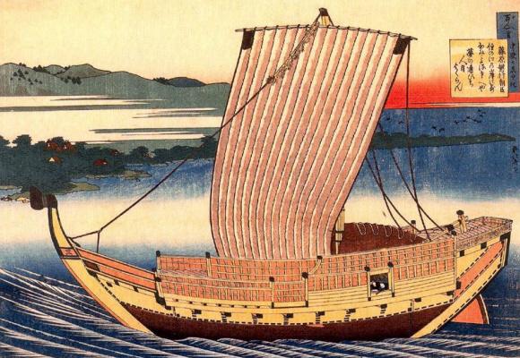 Katsushika Hokusai. Two Lovers in a Sailboat