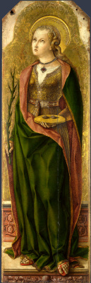Carlo Crivelli. Saint Lucia. The Central altar of San Domenico in Ascoli. Fragment
