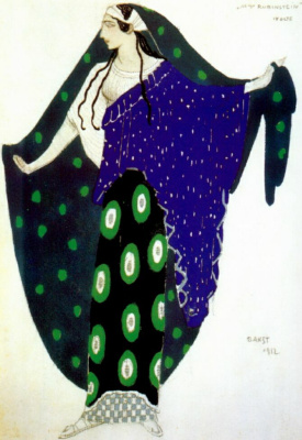 Lev Samoilovich Bakst (Leon Bakst). Costume design for IDA Rubinstein in the role of Helen in the tragedy Helen of Sparta, act IV