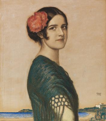 Franz von Stuck. The artist's daughter Mary in a Spanish costume. 1916