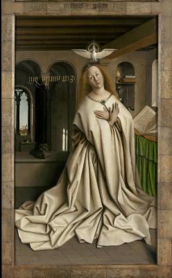 Губерт ван Эйк. Гентский алтарь с закрытыми створками (фрагмент)
